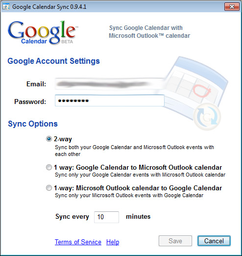 Google Sync Calendar Outlook 2010