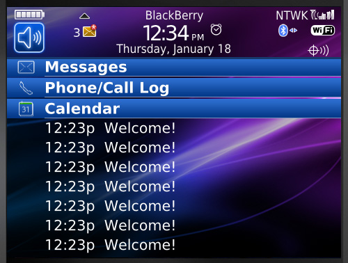 Black Berry Bold 9700 Thema - Grote agenda